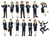 Set Cartoon Business People isolated on White Background No.1. Vector Illustration Stock Photos