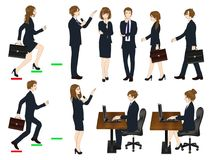 Set Cartoon Business People isolated on White Background No.3. Vector Illustration Stock Photo