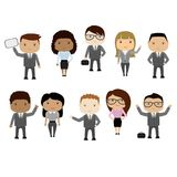 Set of cartoon  business woman and business man,different races. Stock vector illustration Stock Images