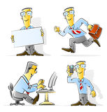 Set of cartoon businessman Stock Photos