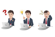 Set of cartoon businessman. Vector illustration of Set of businessman at a laptop computer,with question mark,with idea bulb,getting nervous in trouble on white Royalty Free Stock Photo