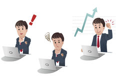 Set of cartoon businessman in 3 different poses Royalty Free Stock Images