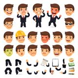 Set of Cartoon Businessman Character for Your. Design or Aanimation. Isolated on White Background. Clipping paths included in additional jpg format Royalty Free Stock Image