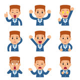 Set of cartoon businessman faces showing different emotions. For design Stock Images