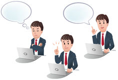 Set of cartoon businessman with speech balloon. Cartoon businessman at laptop computer in three poses : with speech bulb, pointing up with the index finger Stock Photography