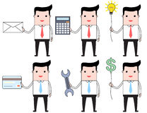 Set of cartoon businessmen carrying different objects Royalty Free Stock Photos
