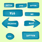 Set of cartoon buttons with different shapes Stock Photos