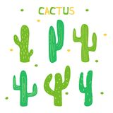 Set of cartoon cactus decorated graphic elements. royalty free illustration