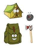 Set of cartoon camping and hiking icons Royalty Free Stock Images