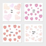 Set of cartoon cards. Design for poster, card, invitation, placard, brochure, flyer. Birthday or Valentine`s Day backgrounds with hearts, abstract modern style Stock Photography