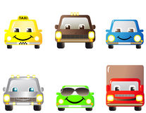 Set of cartoon cars. Set of many cartoon cars, toys Stock Images