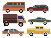 A set of cartoon cars. Collection of old cars. Truck. Transport. Vector illustration. Stock Photos
