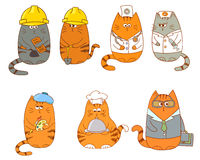 Set of cartoon cat characters. Royalty Free Stock Image