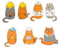 Set of cartoon cat characters. Royalty Free Stock Image