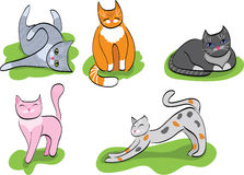 Set of cartoon cats. Icon set of cute cartoon cats in different poses. vector is also available Stock Photos
