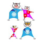 Set of cartoon cats in funny combos on a white background. Vector illustration Stock Image