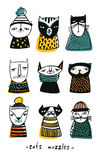 Set with cartoon cats muzzles. Hand drawn doodle kitty collection on white background. Colorful vector illustration. Set with cartoon cats muzzles, Hand drawn Stock Images