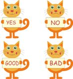 Set of cartoon cats with signs vector illustration