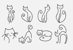Set of cartoon cats vector curved lines Stock Photo