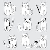 Set cartoon cats wits different emotions, hand drawn. Vector illustration royalty free illustration