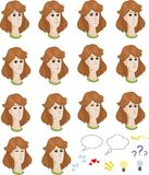 Set of cartoon caucasian female faces with Royalty Free Stock Images