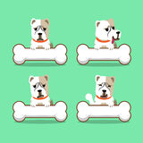 Set of cartoon character alabai dog with big bones Royalty Free Stock Photography