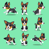 Set of cartoon character basenji dog poses Stock Images