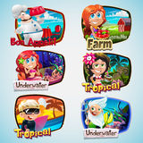 Set of cartoon character. Colorful cartoon set with boys and girls Royalty Free Stock Image