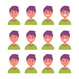 Set of Cartoon Character Faces with Different emotions. Vector Royalty Free Stock Image