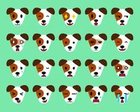 Set of cartoon character jack russell terrier dog faces showing different emotions. For design Stock Photos