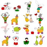 Set of cartoon characters. Colorful graphic illustrations for preschool Royalty Free Stock Image