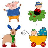 Set of cartoon characters. Colorful graphic illustration for children Royalty Free Stock Photography