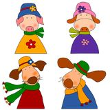 Set of cartoon characters. Colorful graphic illustration for children Stock Photos