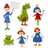 Set of cartoon characters. Colorful graphic illustration for children Stock Image