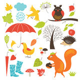 Set of cartoon characters and autumn elements Stock Images