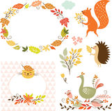 Set of cartoon characters and autumn elements Stock Photo