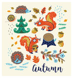 Set of cartoon characters and autumn elements Stock Image