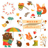 Set of cartoon characters and autumn elements Royalty Free Stock Photography