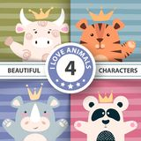 Set cartoon characters - bull, panda, tiger, rhino. royalty free illustration