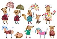 Set cartoon characters Stock Photos