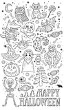 Set of cartoon characters and elements for Halloween. Outline drawing. stock illustration