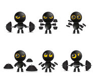Set of cartoon characters emoticon with dumbbells weights Stock Photo