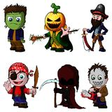 Set of cartoon characters for halloween. On isolated white background royalty free illustration