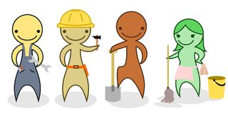 Set of cartoon manual workers. A set of cartoon characters - manual workers and a cleaning lady Royalty Free Stock Image