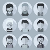This is set of cartoon characters of men. For avatars. This is a collection of black-and-white color scheme faces of men with different hairstyles and clothing Royalty Free Stock Images