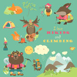 Set of cartoon characters and mountaineering elements Stock Image