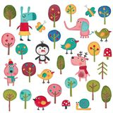 Set of cartoon characters over white background Royalty Free Stock Image