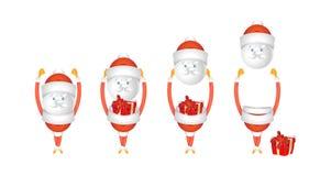Set of cartoon characters Santa Claus with gift isolated. Set of cartoon characters Santa Claus with gift isolated on white background. Vector for christmas Stock Photos
