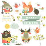 Set of cartoon characters and spring elements Stock Photo