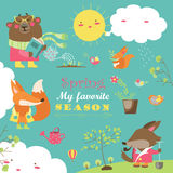 Set of cartoon characters and spring elements Royalty Free Stock Images